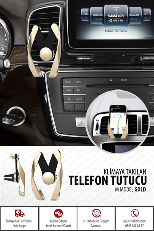 Araba Telefon Tutucu M Model - Gold
