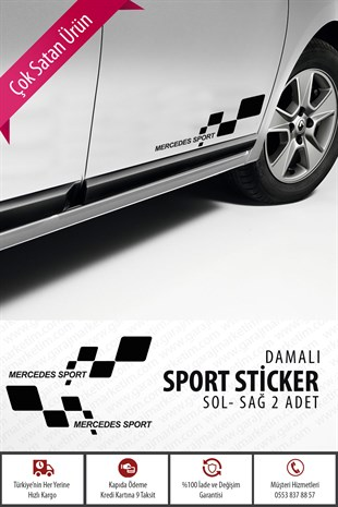 Mercedes Damalı Sport Sticker 2li